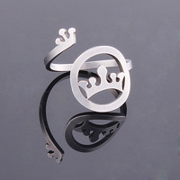 Newest Hot Sale Adjustable Size Design Women Crown Hollow Pendant ring