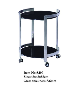 2018 2 Tier Small Round Glass Coffee Table With Wheels