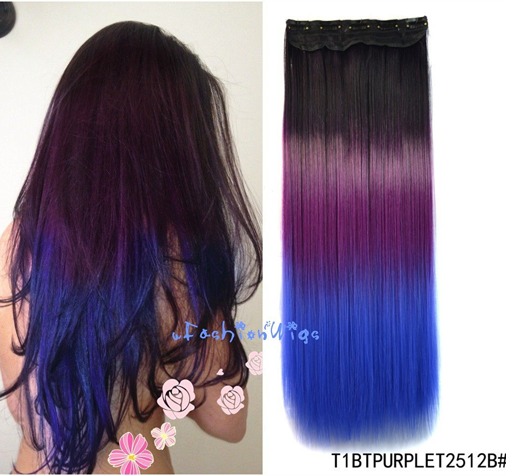 Buy Black To Purple To Royal Blue Three Colors Ombre Hair Extension