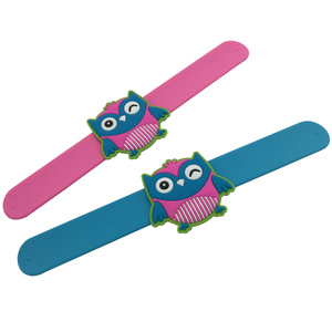 Silicone Slap Bracelet with 3D Owl Charm For Kids