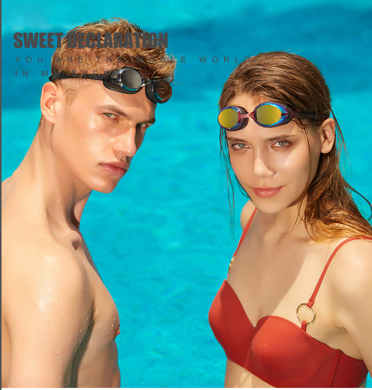 Adult Tropical Myopia Silicon Swimming Goggles With Adjusted Straps