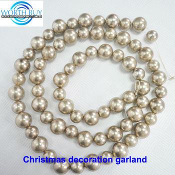 Vintage Shiny Grey Beaded Christmas Ornament Ball Garland Buy Christmas Ornament Ball Garland Handmade Christmas Decorative Garland Plastic Beads To