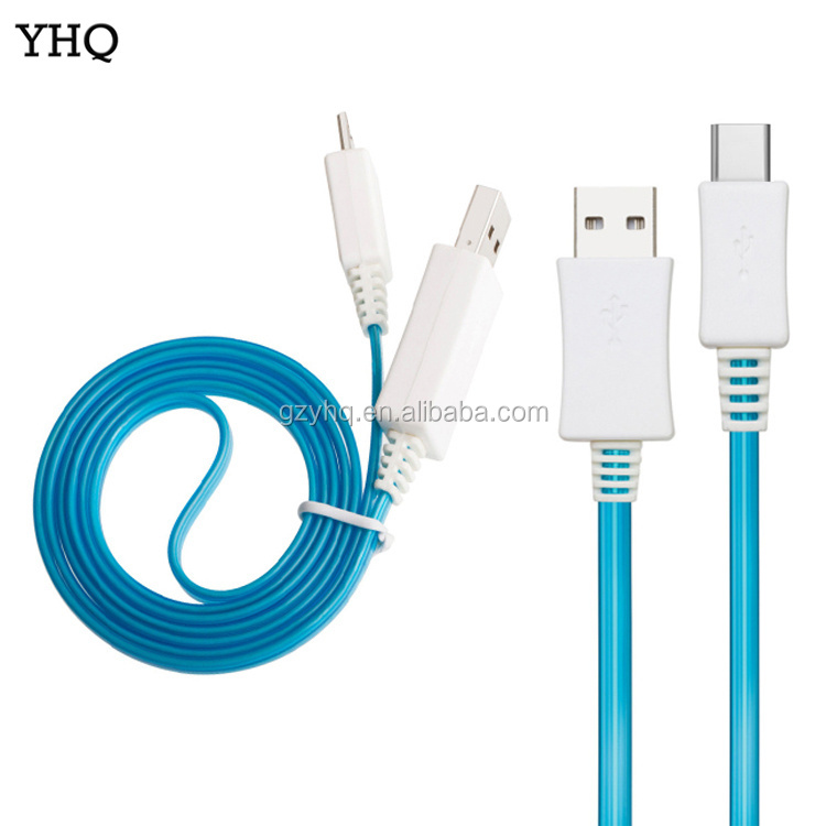 High Quality LED Micro USB Type C Cable, 1M Date Line