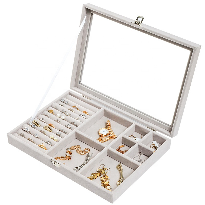 Glass flannelette Acrylic Tray Showcase Display Ring Luxury Jewelry Boxes Organizer Velvet Storage Box
