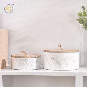 King Style OEM Luxury Design Nut Dried Fruit Candy Snack Kitchen Household Marble Storage Box with Solid Wood Cover