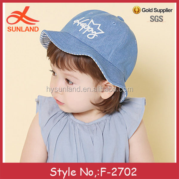F-2702new denim free patterns knitted happy newborn baby cowboy hat cotton  bucket hats 27c044b682b4