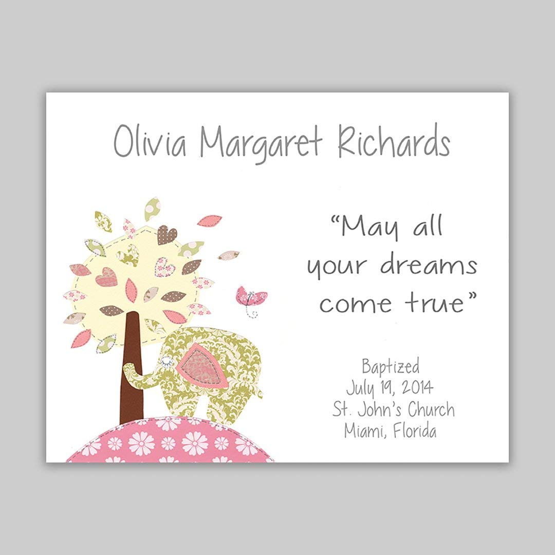Baby Girl Gift -Baptism Gift - Personalized - Christening Gift for Godchild - Elephant - Baby Shower - Tree - Pink and Green - Nursery Art - Dedication - Baptism Gift from Godparents - PRINT