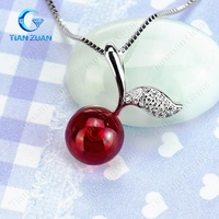 fashion cherry pendant with 5# ruby ball shape 925 sliver chain necklace for jewelry