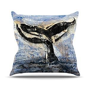 "KESS InHouse Josh Serafin ""Whale Tail"" Coastal Painting Outdoor Throw Pillow, 18"" x 18"""