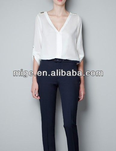 Factory outlets ladies 3/4 sleeve blouse design BU007