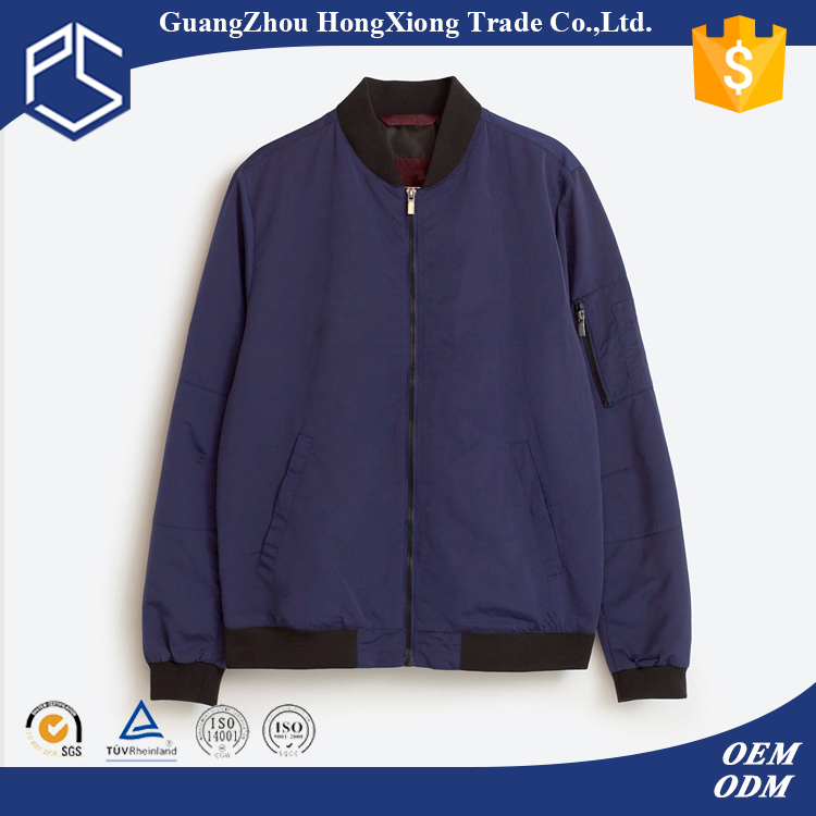 Hongxiong oem mens custom logo deyd cvc polyester water proof zip up round neck blue custom bomber jackets