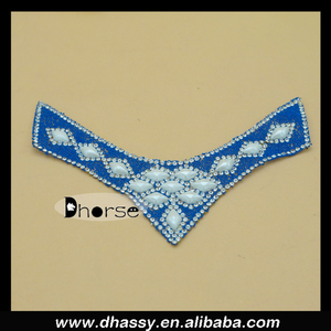 Wholesale Shoes Uppers Rhinestone Appliques , Blue Beads Appliques With White Stone For Shoes OEM Service Dhorse DHSA1624