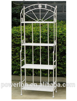 Popular Shabby Chic Anti White 4 Tier Metal Garden Shelf Outdoor