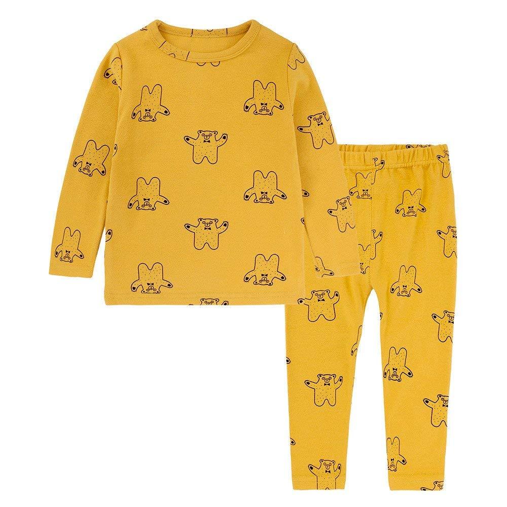 Yihaojia 2PCS Winter Cotton Set Pajama Toddler Baby Boy Girl Kids Bear Print Tops T-shirt Pants Pajama Sleepwear Outfits 12M-6T (age: 3-4 years old, Yellow)