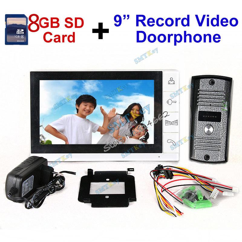 Обновленная версия поддержка ожидания 9 дюймов цветной жк-монитор 8 ГБ SD карты запись видео система внутренней связи с ик-камеры