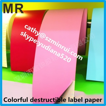 Multicolor destructible self adhesive vinyl security label papercustom color fragile tamper proof egghsell sticker