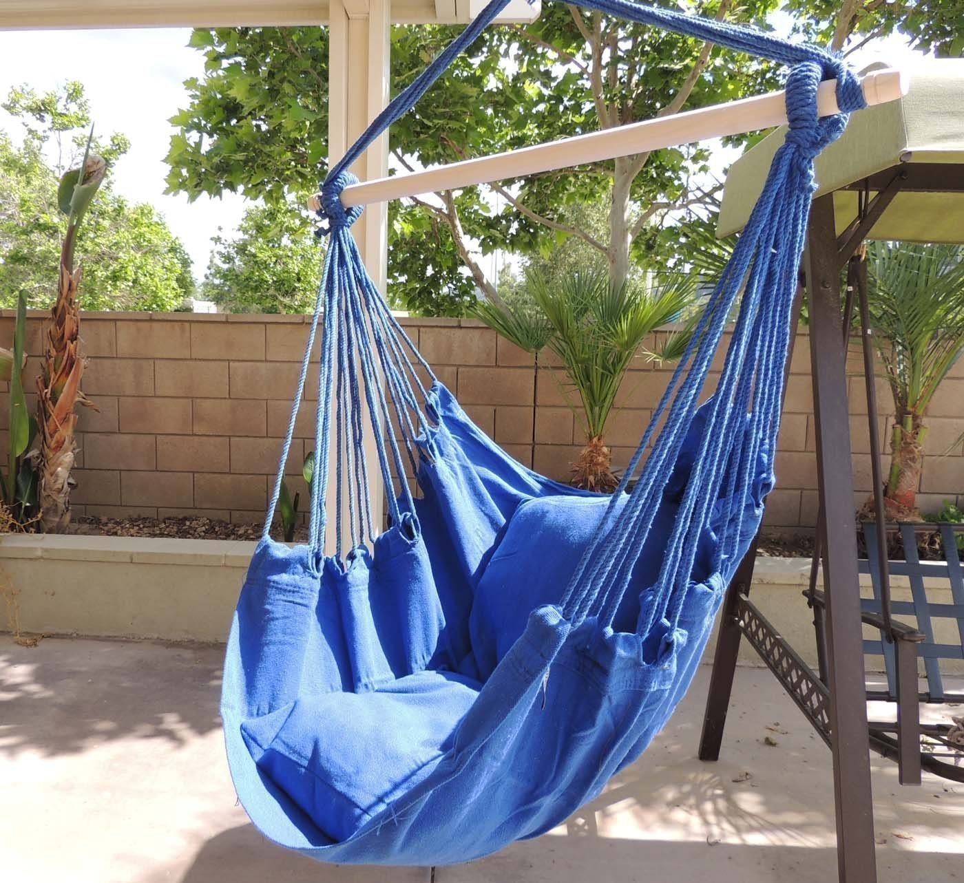 Get Quotations · Hammock Chair Hanging Rope Chair Porch Swing Outdoor  Chairs Lounge Camp Seat At Patio Lawn Garden