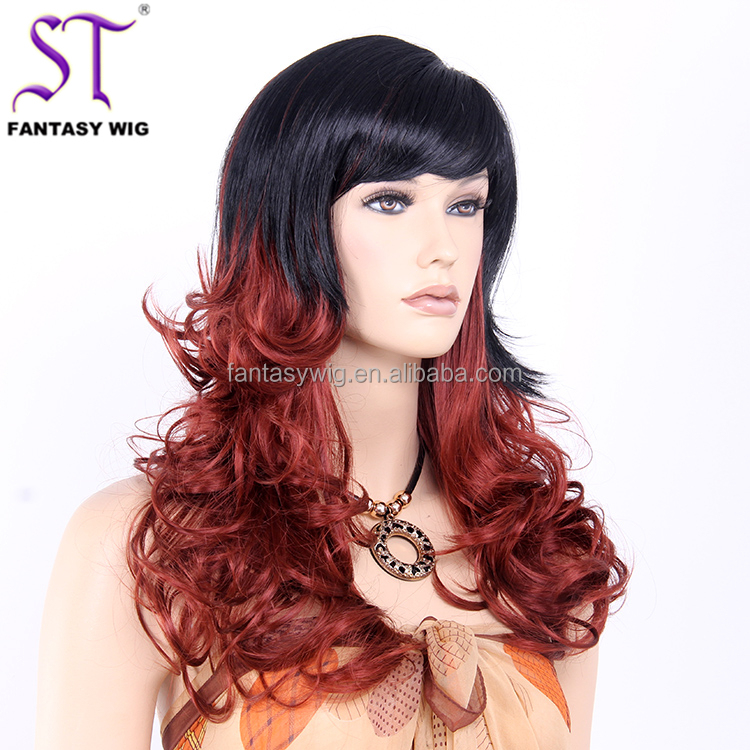 Most Popular Synthetic Curly Wigs Half And Half Color Wig For Christmas