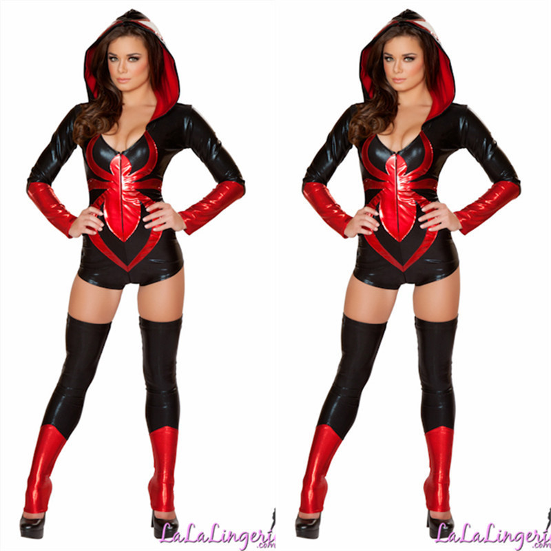 Halloween Masquerade New Black Woman Spider Man Cosplay Costumes Masquerade Sexy Woman Super Hero Role Play Disfraces H157317
