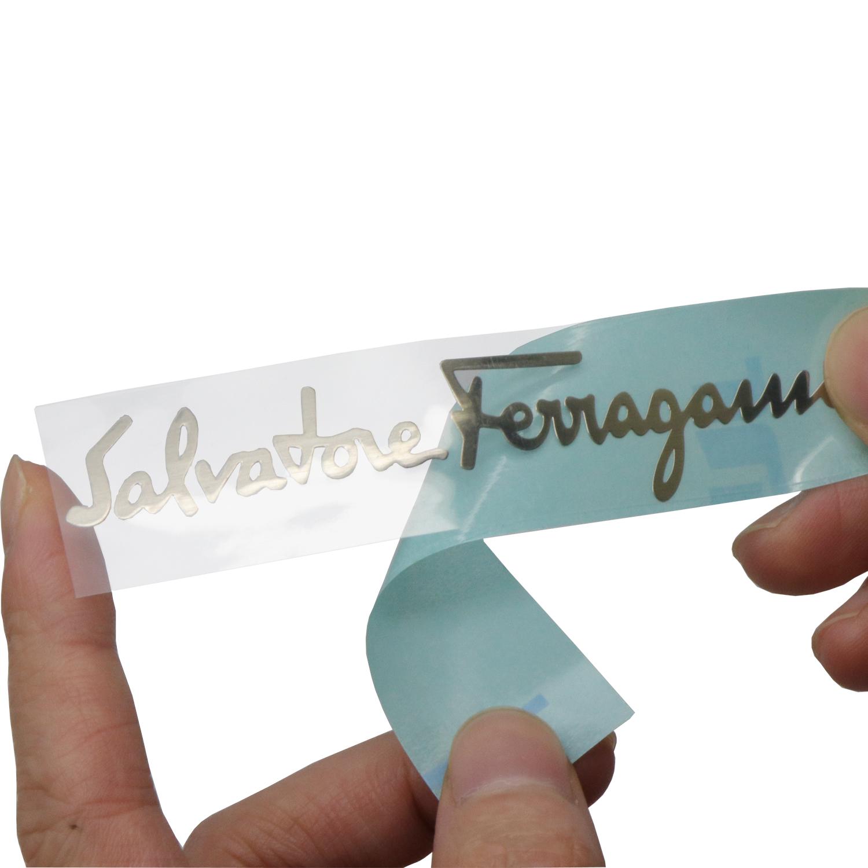 Benutzerdefinierte kleine metallic 3D brief geprägte electrofom nickel label klebstoff metall platte logo nickel aufkleber für maschine