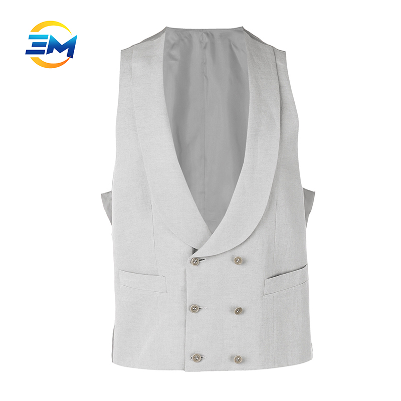 Basic style customized double breasted light grey formal waistcoat for men
