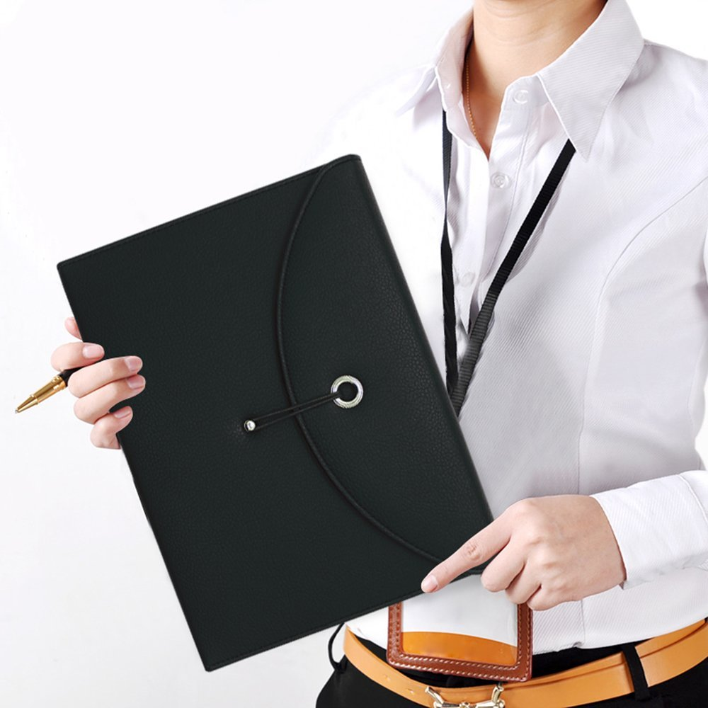 Portable Expandable Accordion PU Leather Business Briefcase A4 and Letter Size 13 Pockets File Folder Holder