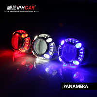 China auto parts importers high brightness light guide angel eyes led shrouds Panamera 3.0 inch projector headlight