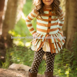 2015Wholesale toddler winter clothes sets girls ruffle cardigan with polka dot legging outfits cute jacket outfits