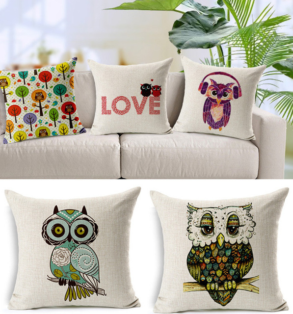 Newlywed Home Decor: Cute Pillow Cushion Night Owl Car Bed Printed Lover Couple