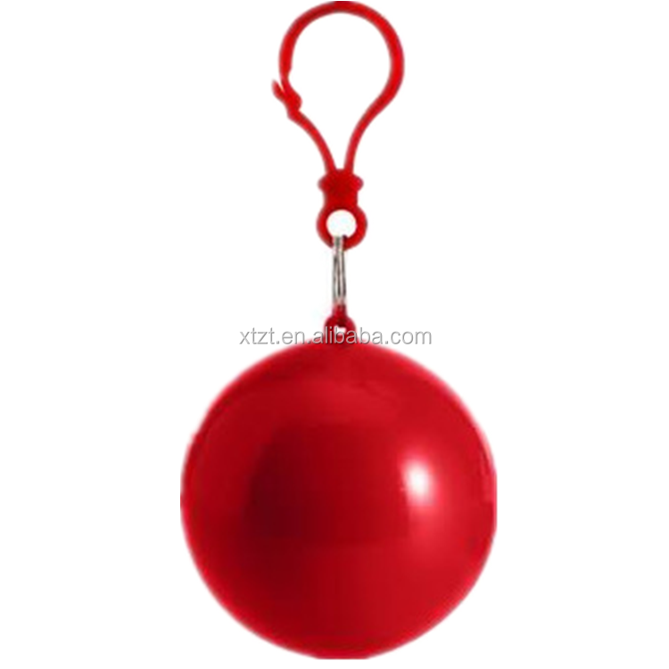 Wholesale ECO-friendly Red disposable raincoat ball with keychain