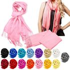 Long style fashion 100% pashmina women multi colors shawls scarf with tassel