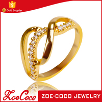 Hot sale fashion latest 18K gold plated ring alloy jewelry gold engagement finger ring designs for girls