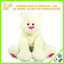 Promotional baby bedtime toys pure white plush teddy bear stuffed and soft plush teddy bear