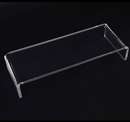 "20"" Clear Acrylic Monitor Stand with Keyboard Storage Computer Monitor Screen or LCD Television Riser Shelf Plinth"