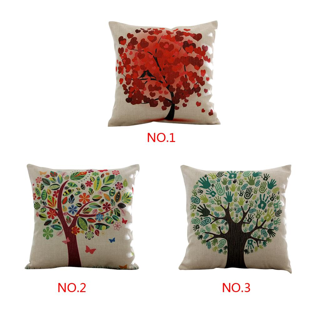 Stylish Cozy Love Tree Cotton Throw Pillow Case Cushion Home  Canvas pillowcase lumbar pillow