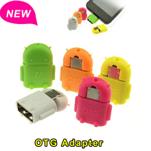 Android Robot Shape Micro Mini USB OTG Adapter Converter 2.0 For Samsung Xiaomi Tablet PC Connect To U Flash Mouse Keyboard