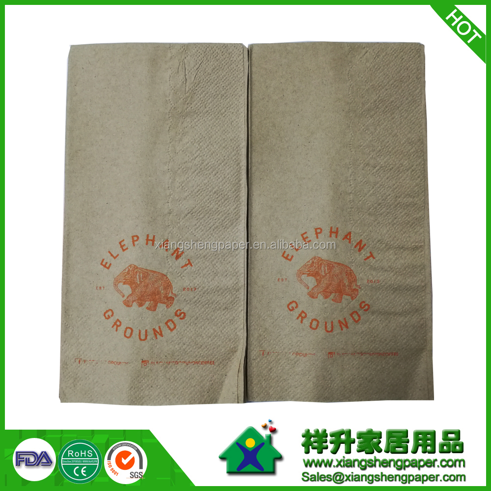 40cmx40cm Dispenser Brown Kraft Off 1/8 Fold Paper Napkins, 2-ply, with logo, square, printed 1 color logo, embossed