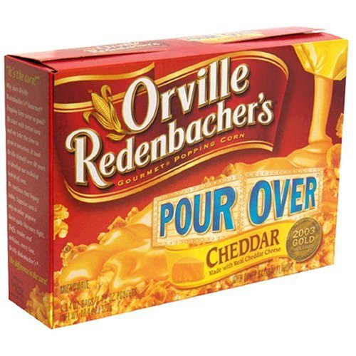 Orville Redenbacher's Gourmet Microwavable Popcorn, Pour Over Cheddar, 4-Count Boxes (Pack of 6)