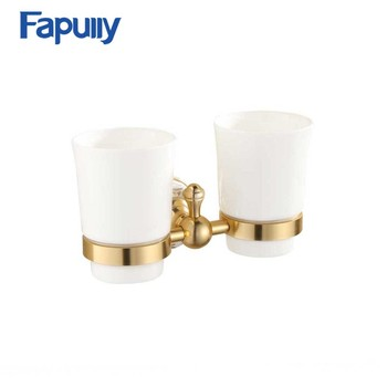 Fapully High Quality Wall Mounted Double Ceramic Tumble Holder Tooth Brush Holder