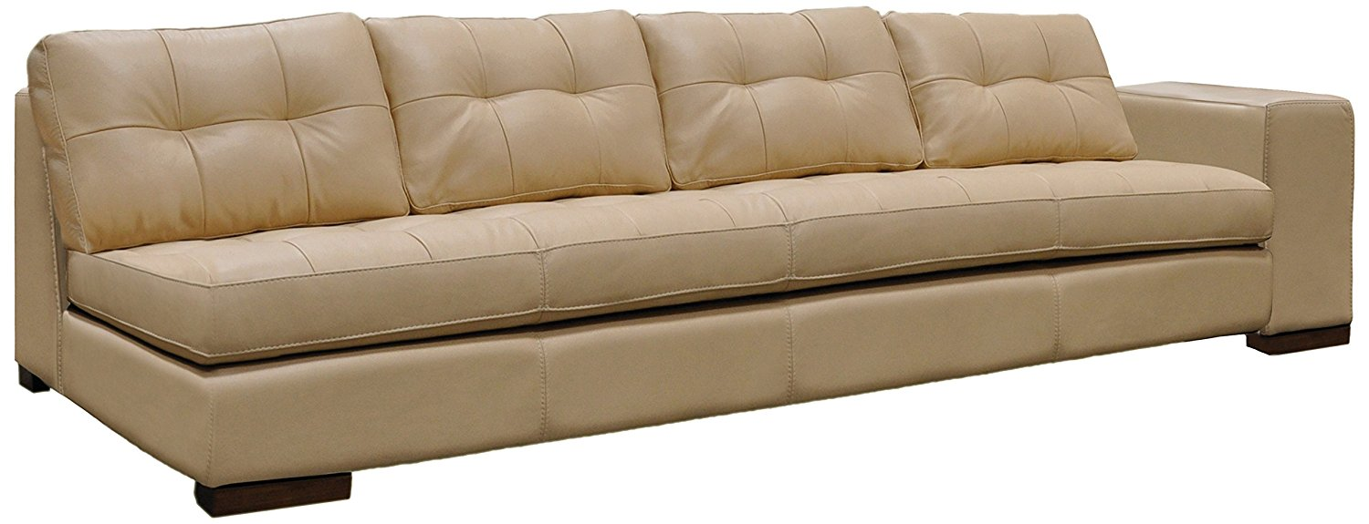 Omnia Leather Peninsula Right Arm 1 Cushion 4 Seat Sofa in Leather, Chocolate Legs, Softstations White Winter