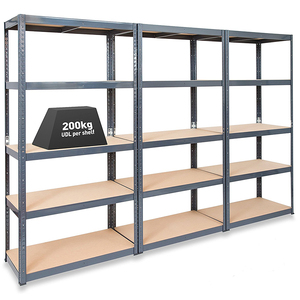 Galvanised edge curl Steel heavy duty 5 Tier shelving shop shelving units