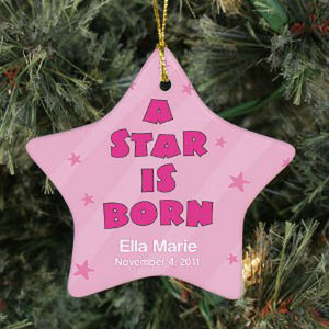 A Star Is Born Glass Baby Photo Ornament For Baby Birth Souvenir