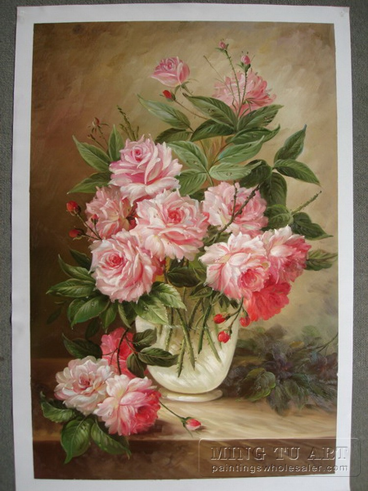 oil painting pink flower - photo #11