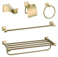 5 Pcs Modern Luxury Brass Gold Plated Hotel Bathroom Set Accessories For Hotel