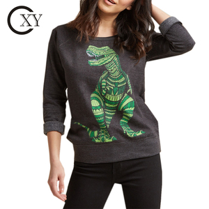 Custom Ladies Long Sleeves Round Neck Rex Graphic Tops