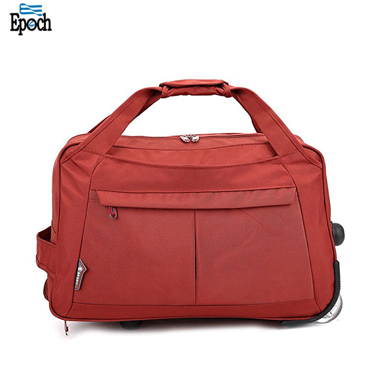 Bags supplier stylish vintage 20 inch nylon rolling duffel bag,red trolley bag for traveling