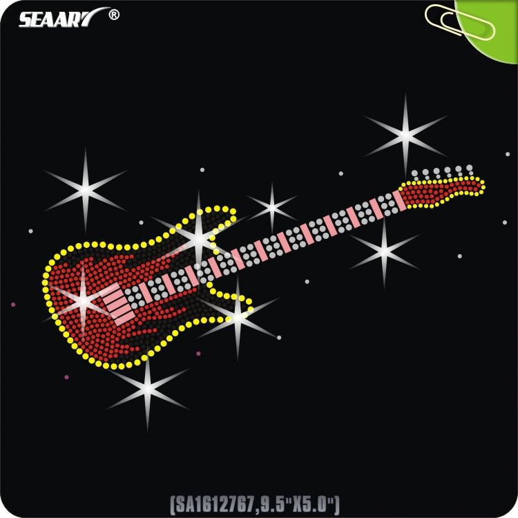 electrics guitar rhinestone motif wholesale iron on rhinestone transfer
