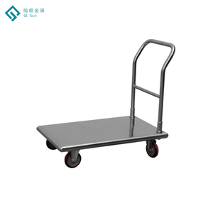 Customizable Fold Brake Casters Stainless Steel Flatbed Loading Hand Rolling Cart