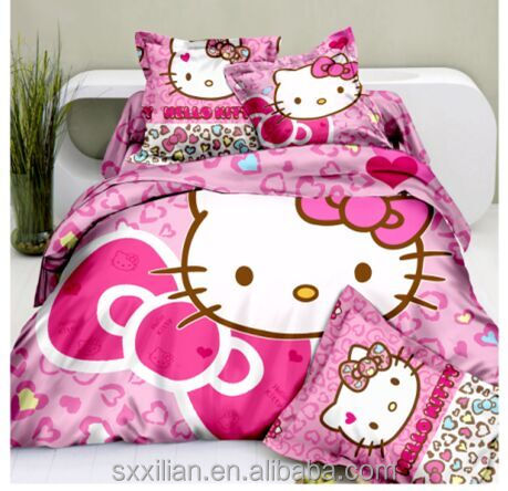 quality 100% cotton 3D hello kitty bedding set/luxury/wholesale comforter
