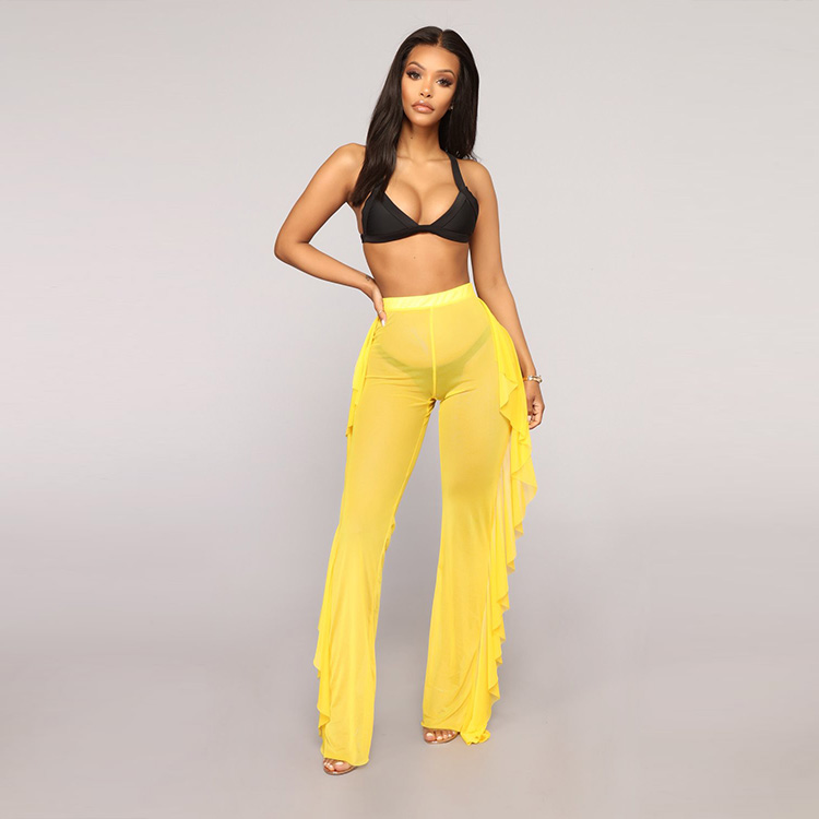 Amazon European and American Solid Ruffled Beachwear Sexy Mesh Perspective Trousers Women Beach Cover Up